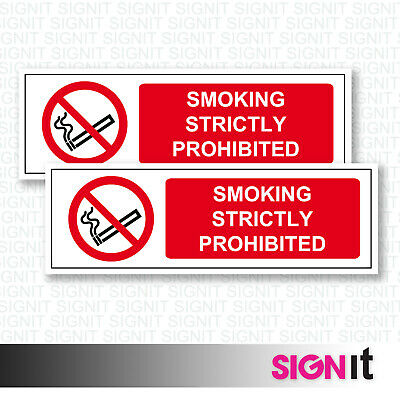Smoking Strictly Prohibited - Smoking Prohibit Sign Vinyl Sticker (50mm x 150mm)