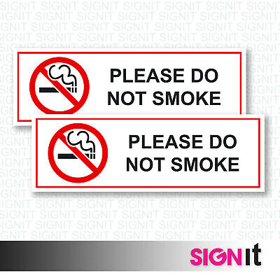Please Do Not Smoke - Do Not Smoke Sign Vinyl Sticker (50mm x 150mm)