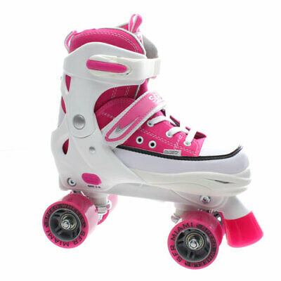 NEW Girls/Junior SFR Miami Adjustable Quad Roller Skates in White/Pink