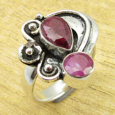 925 Silver Plated Fancy Simulated Ruby STUNNING Ring Size 6 FREE SHIPPING NEW