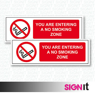 No Smoking Zone - Entering No Smoking Zone Sign Vinyl Sticker (50mm x 150mm)