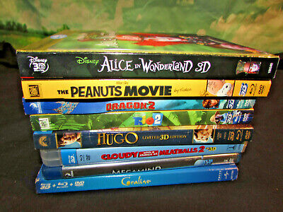 LOT OF 8 3D Bluray blu ray movies  Disney family animated w/ cases sleeves lot 3