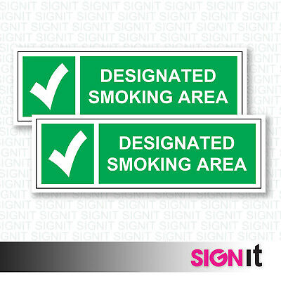 Smoking Area - Smoking Area Green Sign Vinyl Sticker (50mm x 150mm)