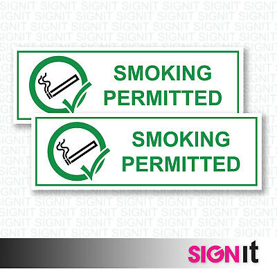 Smoking Permitted - Smoking Permitted Sign Vinyl Sticker (50mm x 150mm)
