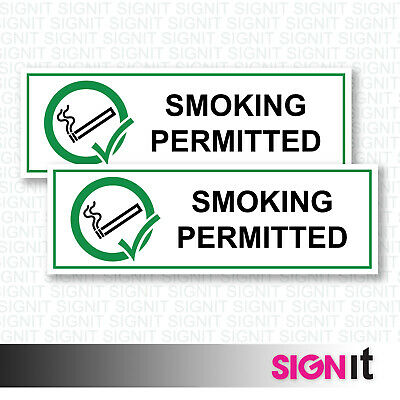 Smoking Permitted Alternate - Smoking Sign Vinyl Sticker (50mm x 150mm)