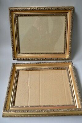 Pair of (2) Wooden Ornate Gold Picture Photo Frame Set Stylish