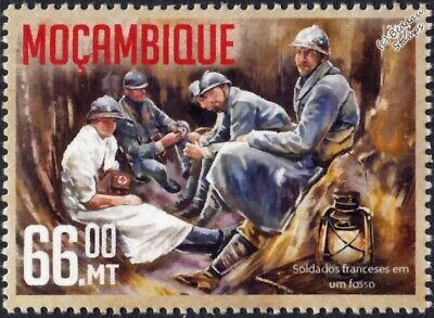 WWI 1916 BATTLE OF VERDUN Trench Warfare: French Army Soldiers & Nurse Stamp