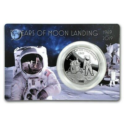 FIRST MAN ON THE MOON LANDING 2019 1 oz Pure Silver Proof Coin - Barbados