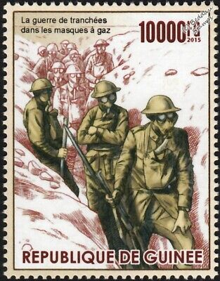 WWI Trench Warfare: British Empire Army Soldiers Wearing Gas Masks Stamp (2015)