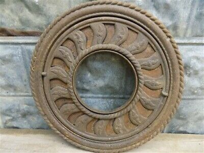 Cast Iron Round Stove Pipe Collar, Chimney Flue Cover, Ornate Grate Heat Ring d,