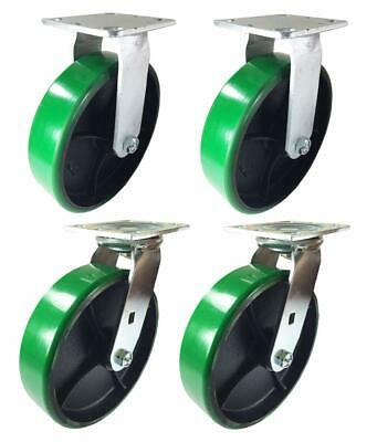 "A Set of 4 Casters Green Polyurethane on Cast Iron 4"" 5"" 6"" 8"""
