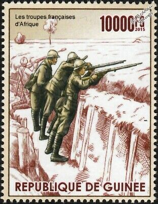 WWI Trench Warfare: French Army Soldiers / African Theatre of War Stamp (2015)