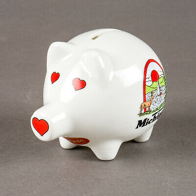 Vintage Lipco Michigan Water Wonderland Ceramic Coin Piggy Bank Souvenir Taiwan