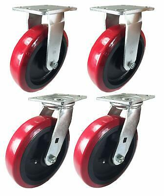 "A Set of 4 Casters Polyurethane on Plastic 4"" 5"" 6"" 8"""