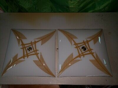 """Pair Vintage Square Glass  Ceiling Light Cover Gold Design 13"""" and fixtures"""