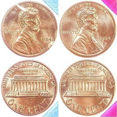 1984 P D Lincoln Memorial Cent BU US Mint Cello 2 Coin Penny Set
