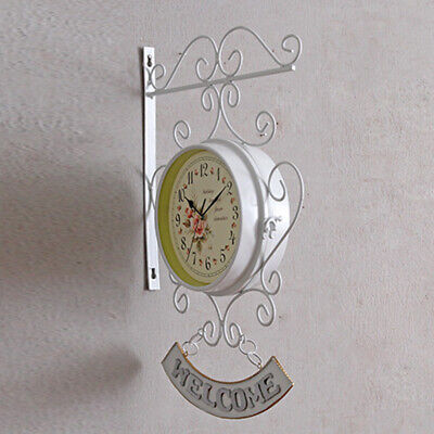 Vintage Style Outdoor Garden Station Wall Clock Outside Bracket/Double Sided New
