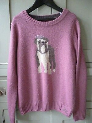 Joules girls age 9-10 pink wool jumper  intarsia bulldog design excellent cond
