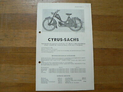 Cyrus Sachs 1954 Onwards Service And Repair Guide Bromfiets Moped Mofa Brommer