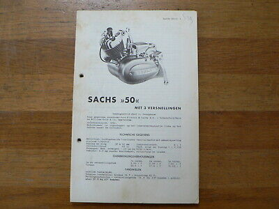 Sachs 50 3 Versn. 1957 Onwards Service And Repair Guide And Part List Mofa Brom