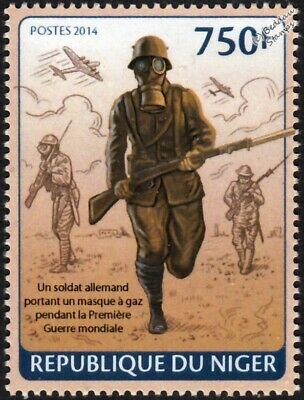 WWI German (Empire) Army Soldiers Advancing / Wearing Gas Masks Stamp (2014)