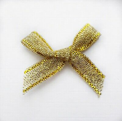 Small Gold Ribbon Bow 3cm Wide Pre-Tied 7mm Lurex Metallic Sparkly Ribbon