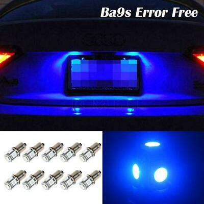 10x Blue Ba9s 57 53 Miniature Bayonet Canbus 5-5050-SMD LED License Plate Lights