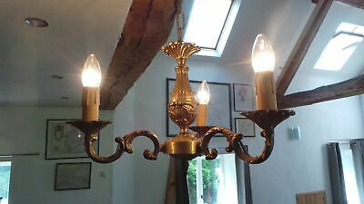 Bronze Vintage French Chandelier 3 Arm Light Fitting Pendant Ormalu Chateau Chic