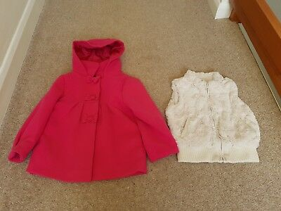 Girls Pink Hooded Formal Coat with bow detail + Cream Furry Gilet age 2-3