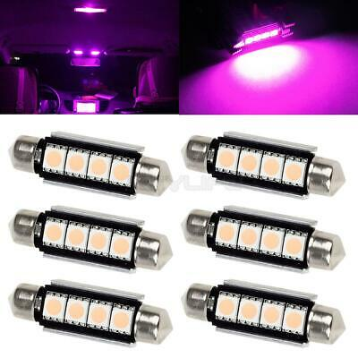 6x Pink Purple 4-SMD 41mm Festoon Canbus LED Lights Car Interior Dome Map 12V