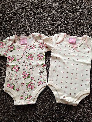 Rockabye Baby Girls 2 Short Sleeved Floral Bodysuits All In One ,size 3-6 M