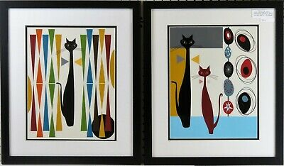 Mid Century Modern Abstract Cat Framed And Matted