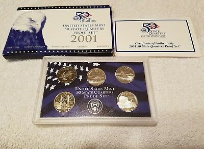 2001 S Proof state Quarter Set with Box & COA 5 Coin set United States Mint!