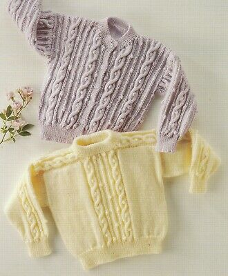 ARAN Baby Cardigans & Sweater Cable Design Copy 4 Ply Knitting Pattern