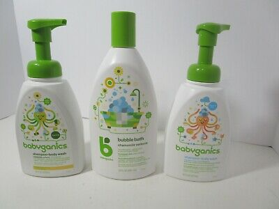 babyganics shampoo+body wash foaming & fragrance free 16oz -bubble bath 20oz SET