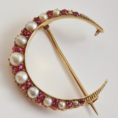 Stunning Antique Victorian 15ct Gold Ruby & Pearl set Crescent Brooch c1895