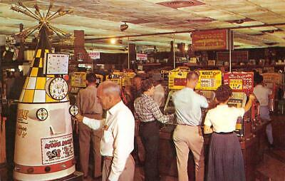 THE NUGGET Casino Interior Reno, Nevada Slot Machines ca 1950s Vintage Postcard
