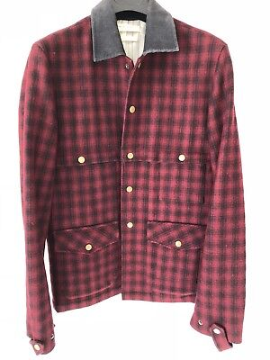 2d49afa822e82 Shades of Grey by Micah Cohen Wool Red Plaid Coat Rare 2010 Coll. Men s Size