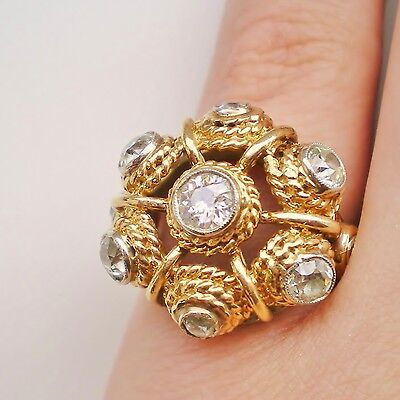 Stunning Vintage Modernist 18ct Gold Diamond (1.48cts) Cluster Ring c1940's