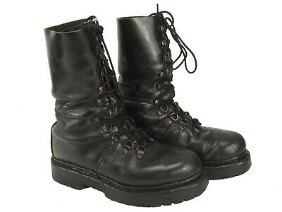 Austrian army Edelweiss Mountain boots Black leather paratrooper para half lined