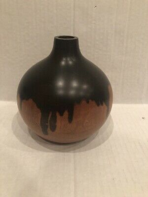 Beautiful stained wooden vase 7 inches tall short neck dark brown light wood