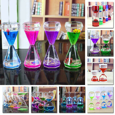 Hourglass Timer Clock/Ornament Floating Color Oil Mix Illusion Acrylic+Liquid V1