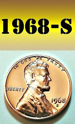 1968-S Lincoln Bright Clear Uncirculated Penny===Bu===Copper Alloy=======