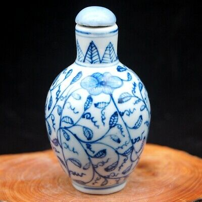 Chinese rare collectible Blue And White Porcelain  Flower leaf Snuff Bottle 3
