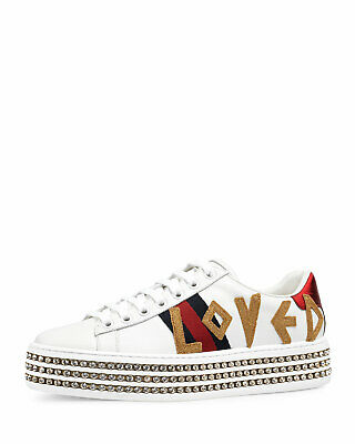 3a23af3a08d8 100%auth New Women Gucci New Ace Love Trainer W  Crystal Platform Sneaker Us