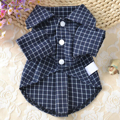 US Pet Dog Summer Costumes Small Dogs Plaid T-shirt Vest Puppy Outfit Clothes