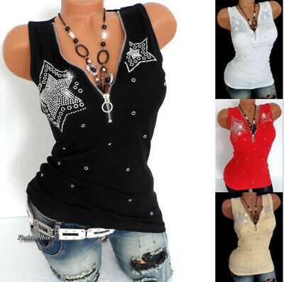 Women Rhinestones Cami Shirt Vest Tank TShirt Blouse Ladies Zipper Top Size 6-20