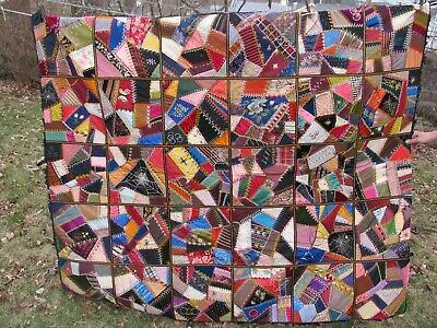 SUPER, ANTIQUE DATED 1899 CRAZY QUILT, GREAT DETAILS, Worcester, Ma, TANGLEWOOD