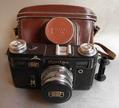 Soviet Russian copy of Contax II Zeiss Ikon BLACK camera with Sonnar lens EXC.