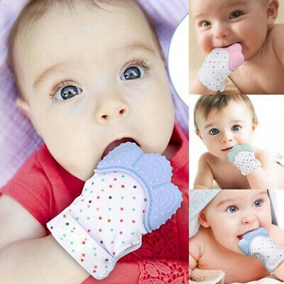 Newborn baby teething silicone mittens gloves teether dental care FT